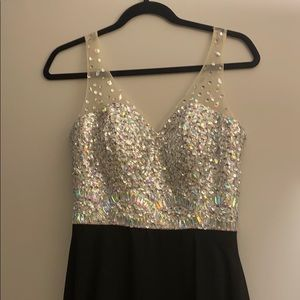 Black and silver beaded gown